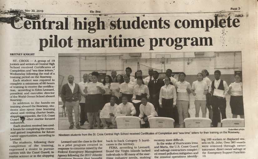 19 Maritime Academy students from STX Central High School graduated from the World Ocean School St.Croix