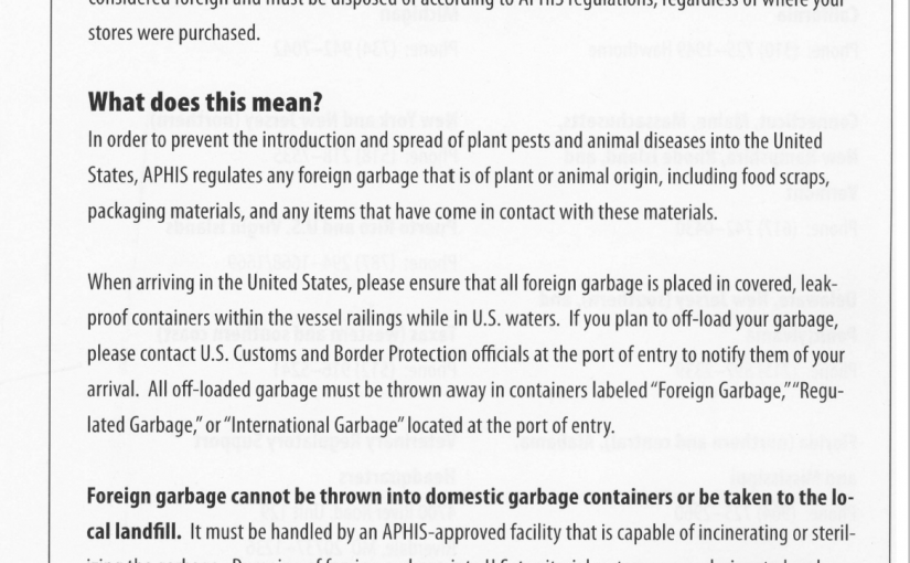 Press Release: by US CBP on Regulated Garbage, May 5, 2020
